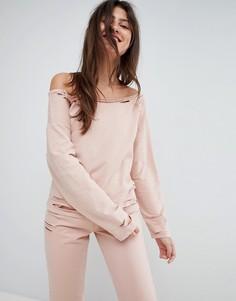 Свитшот с открытыми плечами и рваной отделкой ASOS LOUNGE - Розовый