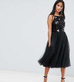 Платье из тюля с отделкой пайетками Little Mistress Petite - Черный