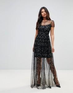 Платье макси из шифона с принтом звезд City Goddess - Черный