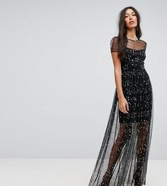 Платье макси с принтом звезд City Goddess Tall - Серый