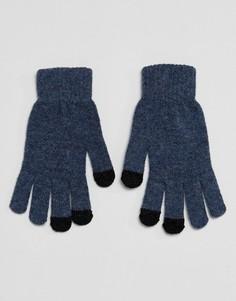 Синие перчатки для сенсорных гаджетов из трикотажа с добавлением овечьей шерсти ASOS - Синий