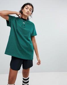 Оверсайз-футболка в полоску со смайликом Lazy Oaf - Зеленый