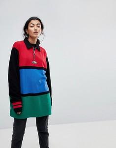 Оверсайз-рубашка в стиле колор блок с молнией Lazy Oaf - Мульти