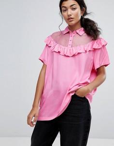 Оверсайз-футболка с прозрачными вставками, оборкой и надписью Bad For You Lazy Oaf - Розовый