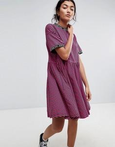 Свободное платье в полоску Lazy Oaf - Розовый