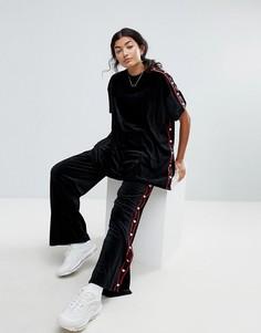 Велюровые спортивные штаны с кнопками в форме сердца Lazy Oaf - Черный