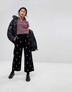 Широкие джинсы с вышивкой в форме черепа Lazy Oaf - Черный