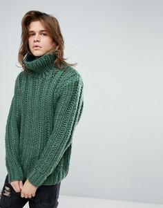 Зеленый джемпер ручной вязки с отворотом ASOS - Зеленый