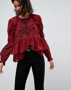 Блузка с вышивкой ASOS - Красный