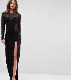 Облегающее платье макси с корсетной отделкой и сетчатыми вставками TTYA BLACK - Черный Taller Than Your Average