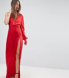 Платье макси с одним рукавом и высоким боковым разрезом TTYA BLACK - Красный Taller Than Your Average