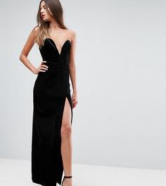 Черное платье-бандо макси с высоким разрезом TTYA - Черный Taller Than Your Average