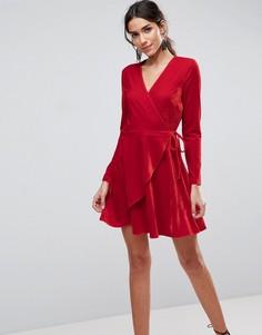 Бархатное платье мини с запахом ASOS - Красный