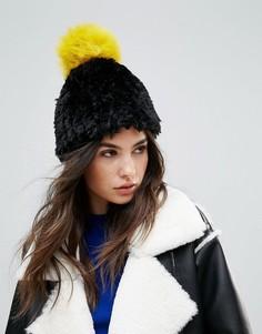 Мягкая вязаная шапка-бини с контрастным помпоном Urbancode - Черный