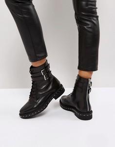 Кожаные ботинки с шипами ASOS ALEC - Черный