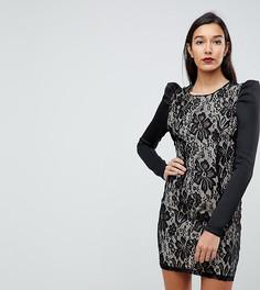 Кружевное облегающее платье мини с пышными рукавами ASOS TALL - Черный