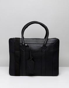 Структурированный кожаный портфель ASOS - Черный