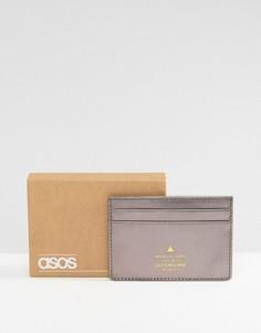 Кожаная кредитница металлик с тисненым логотипом ASOS - Серебряный