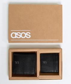 Черные кожаные бумажник и кредитница с тисненым логотипом металлик ASOS - Черный