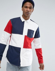 Белая рубашка в стиле колор блок фирменной расцветки Tommy Hilfiger Denim - Белый