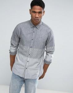 Серая джинсовая рубашка классического кроя в полоску омбре Tommy Hilfiger - Серый
