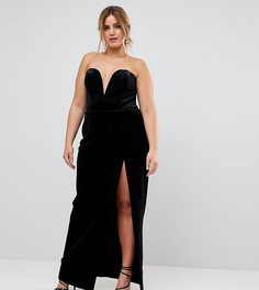 Платье-бандо макси с разрезом до бедра TTYA BLACK Plus - Черный Taller Than Your Average