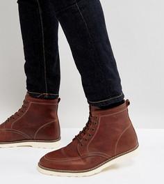 Коричневые кожаные ботинки на шнуровке для широкой стопы ASOS - Коричневый
