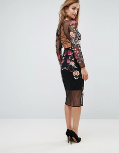 Платье миди с вышивкой ASOS - Мульти