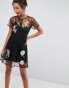 Сетчатое платье мини с цветочной отделкой ASOS PREMIUM - Черный
