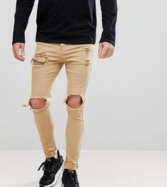 Обтягивающие супероблегающие джинсы с рваной отделкой Sixth June - Светло-бежевый