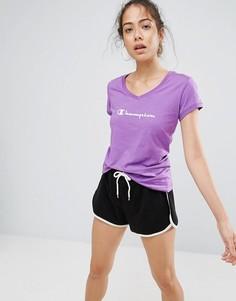 Футболка с логотипом и V-образным вырезом Champion - Фиолетовый