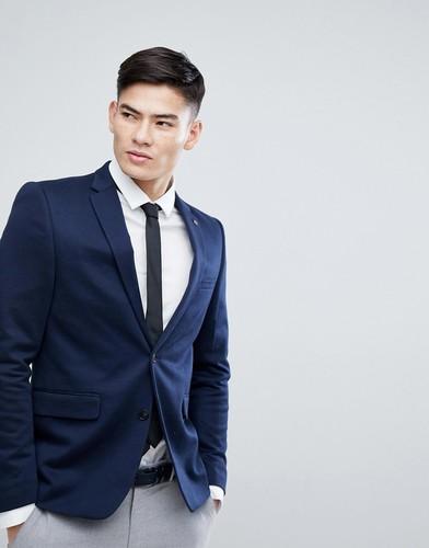 Облегающий трикотажный блейзер Burton Menswear - Темно-синий
