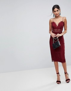 Кружевное платье-футляр миди на бретелях ASOS - Красный