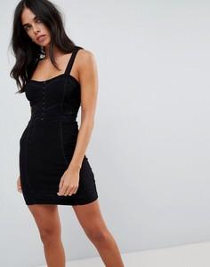 Облегающее платье с кружевными вставками Free People - Черный