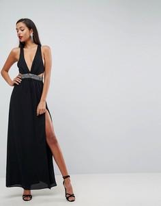 Платье макси с отделкой на талии ASOS - Черный