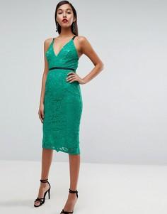 Кружевное платье-футляр миди ASOS - Зеленый