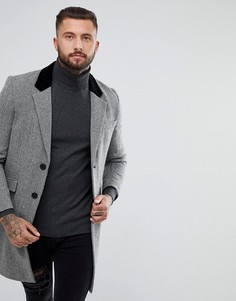 Серое полушерстяное пальто в елочку с бархатным воротником ASOS - Серый