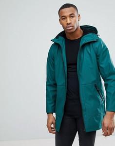Зеленая непромокаемая куртка с искусственным мехом на капюшоне ASOS - Зеленый