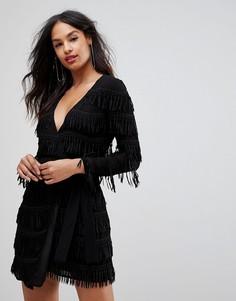 Платье с длинными рукавами и бахромой Isla - Черный