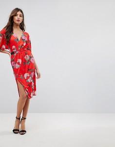Платье миди с V-образным вырезом и цветочным принтом ASOS - Мульти