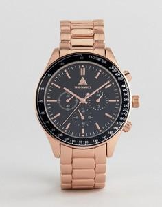 Часы с золотисто-розовым корпусом и контрастным черным циферблатом ASOS - Розовый