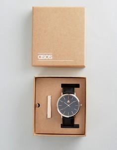 Подарочный набор с часами и зажимом для галстука ASOS - Черный
