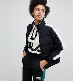 Дутая куртка с отделкой фирменной лентой Fila - Черный