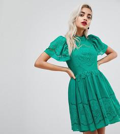 Кружевное платье мини с пышными рукавами ASOS PETITE - Зеленый