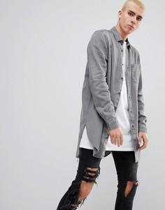 Серая джинсовая рубашка классического кроя ASOS - Серый