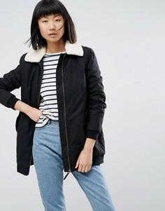 Пальто с воротником из искусственного меха Parka London Karin - Черный