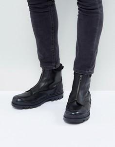 Черные кожаные ботинки челси с молнией спереди и тракторной подошвой ASOS - Черный