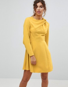 Платье миди с расклешенными рукавами ASOS - Желтый