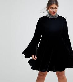 Декорированное короткое приталенное платье мини из бархата ASOS CURVE - Черный