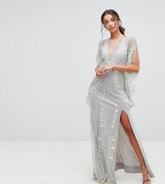 Платье макси с отделкой и широкими рукавами A Star Is Born Tall - Серебряный